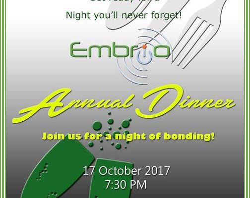 Embrio Annual Dinner 2017 Invite